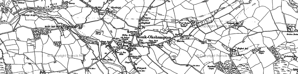 Old map of Wood Barton in 1885