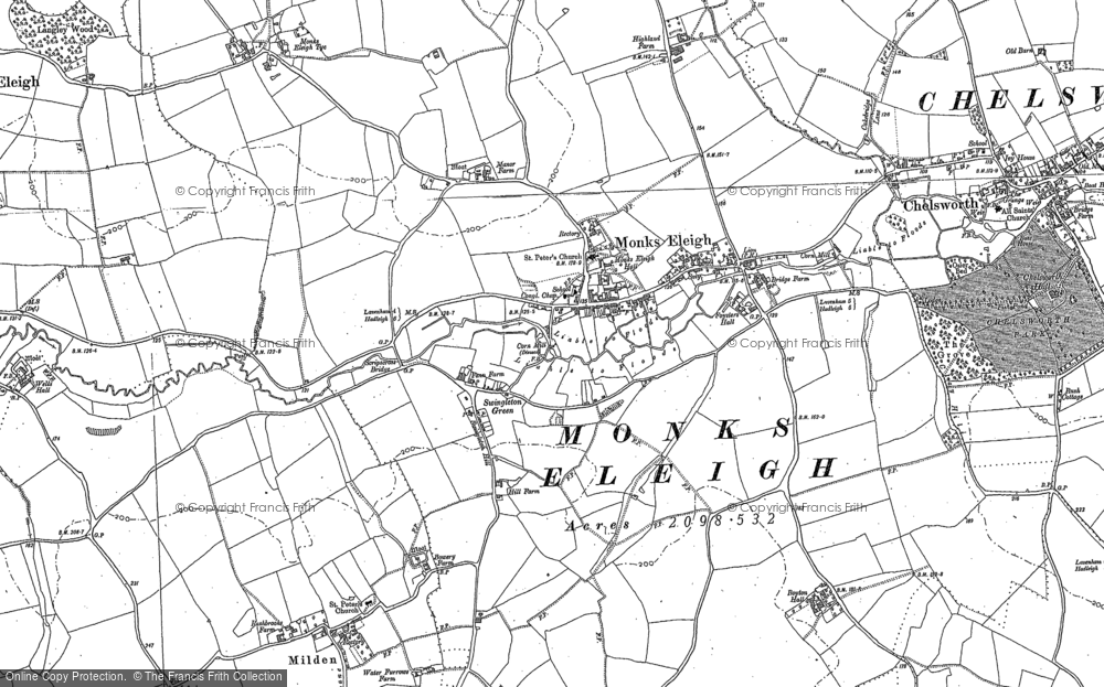 Old Map of Monks Eleigh, 1884 - 1885 in 1884