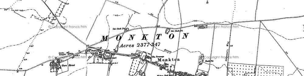 Old map of Monkton in 1896