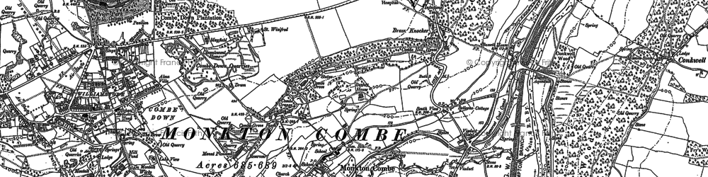 Old map of Monkton Combe in 1899