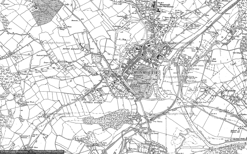 Map Of Uk 1900.Map Of Monmouth 1900 1903 Francis Frith