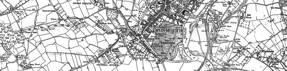 Old map of Monmouth in 1900