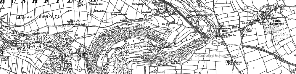 Old map of Monsal Dale in 1879