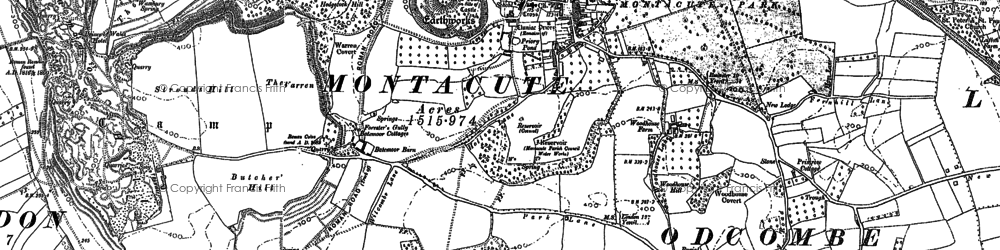 Old map of Montacute in 1886