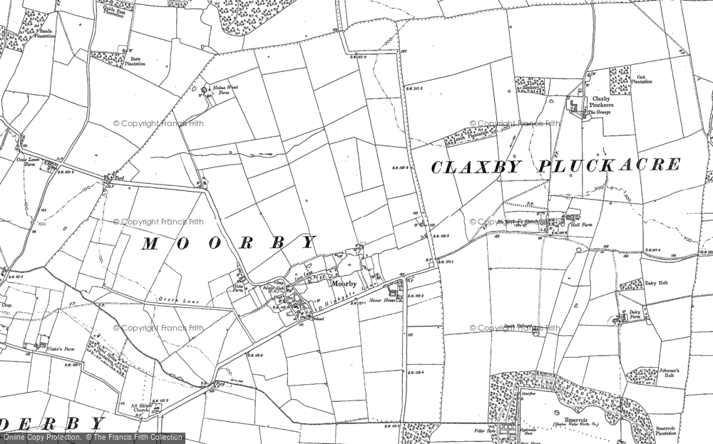 Old Map of Moorby, 1887 in 1887