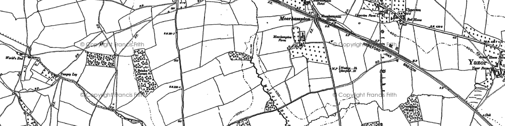 Old map of Yazor Wood in 1886
