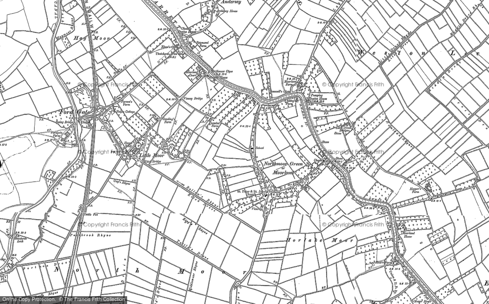 Old Map of Moorland, 1885 - 1887 in 1885