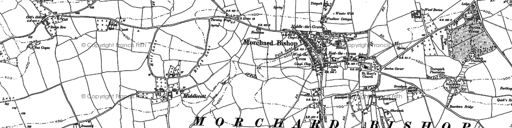 Old map of Bishopsleigh in 1886