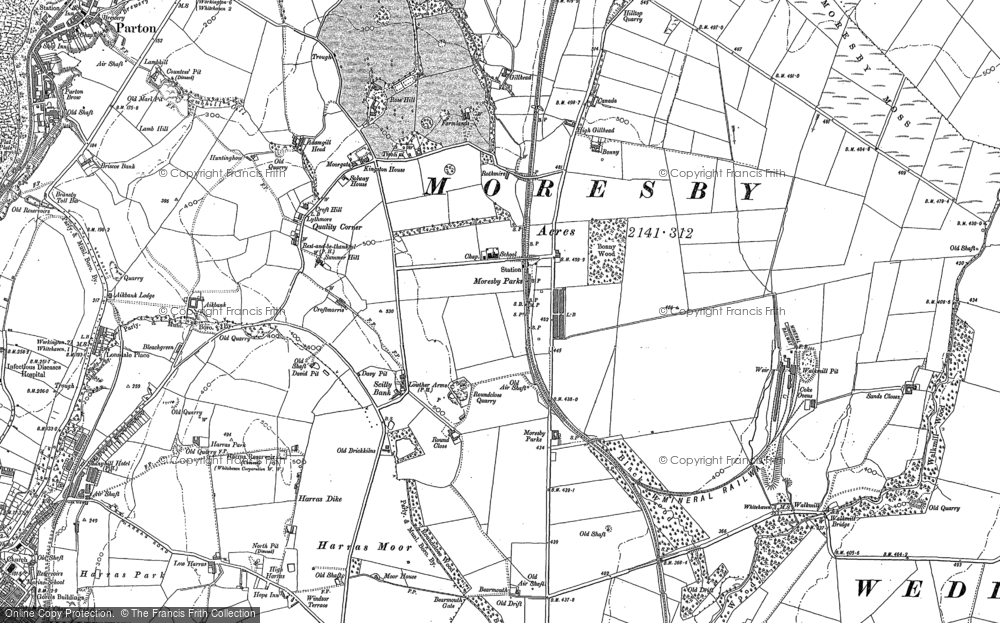 Old Map of Historic Map covering Abbey Flatts in 1923