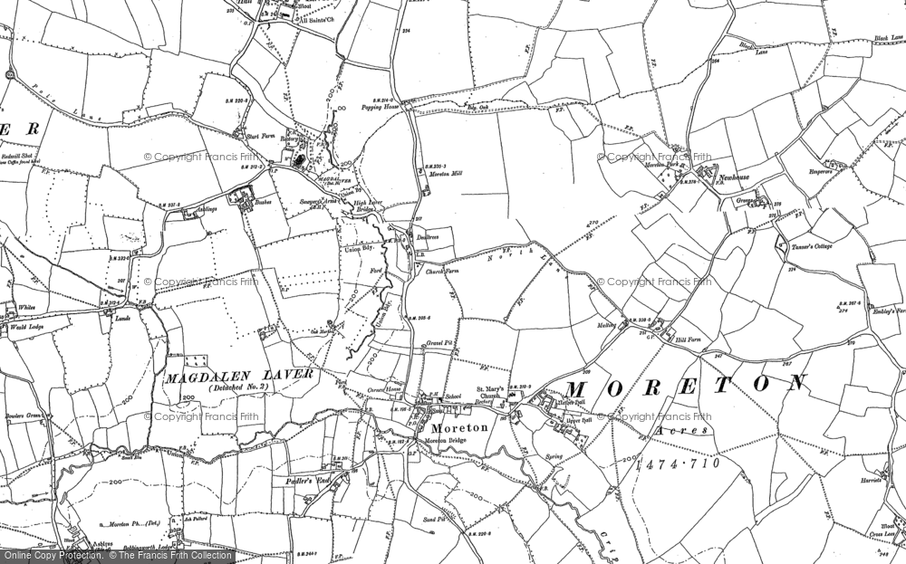 Old Map of Historic Map covering Ashlings Cottages in 1895