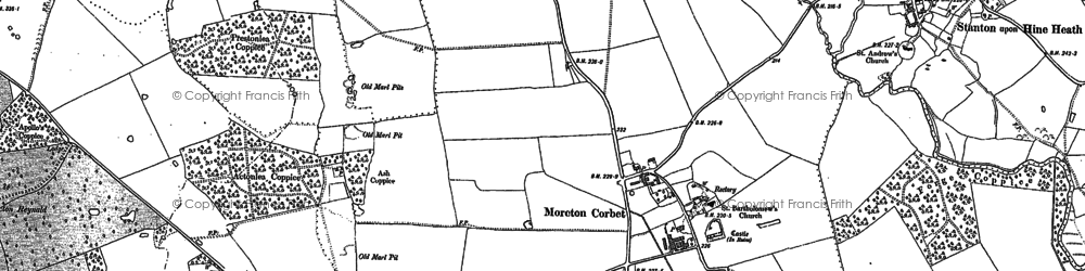 Old map of Moreton Corbet in 1880