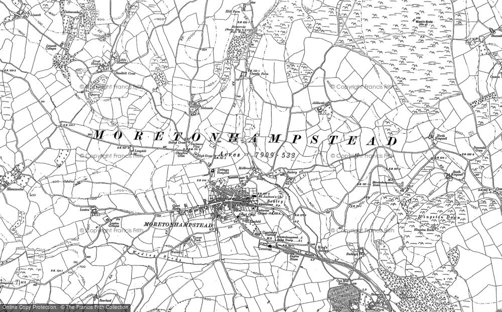 Old Map of Moretonhampstead, 1884 in 1884