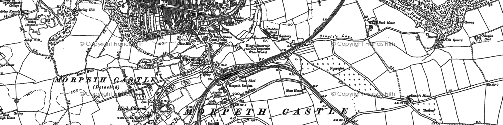 Old map of Morpeth in 1896