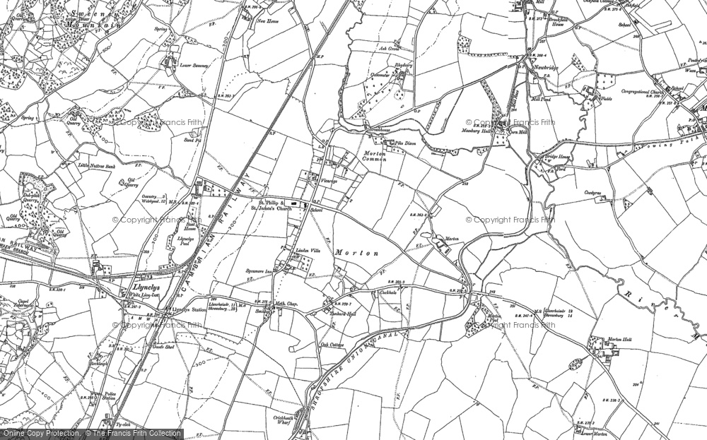 Old Map of Historic Map covering Ley in 1874