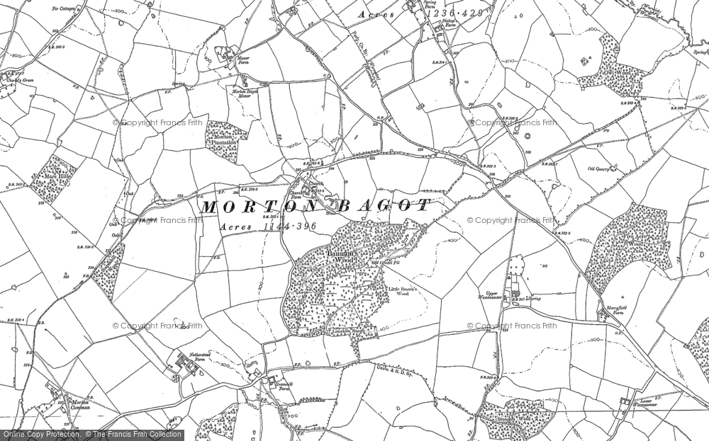 Old Map of Historic Map covering Bannam's Wood in 1885