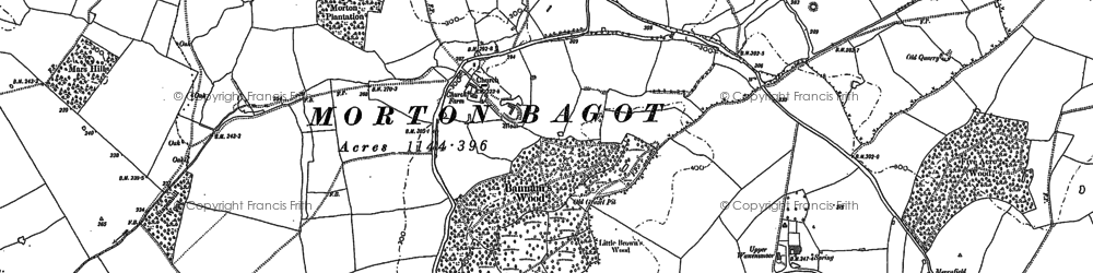 Old map of Bannam's Wood in 1885