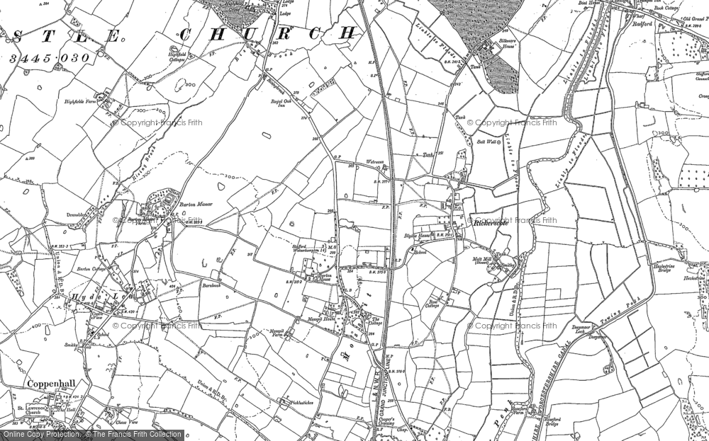 Old Map of Historic Map covering Ashflats in 1882
