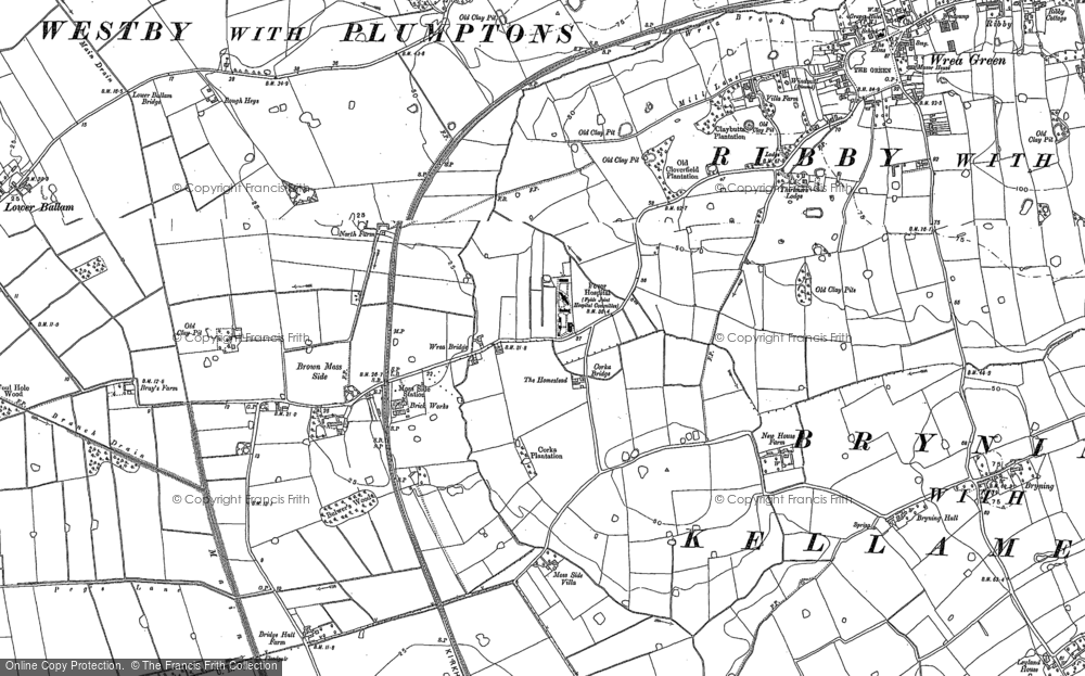 Old Map of Historic Map covering Wrea Brook in 1891