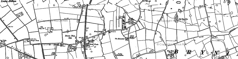 Old map of Wrea Brook in 1891