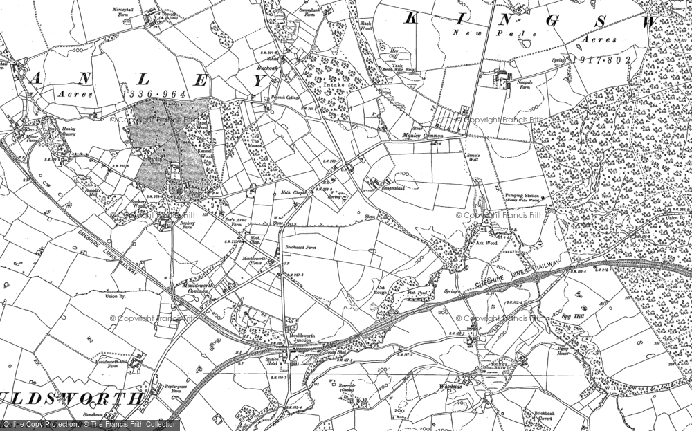 Old Map of Historic Map covering Ashton Brook in 1897