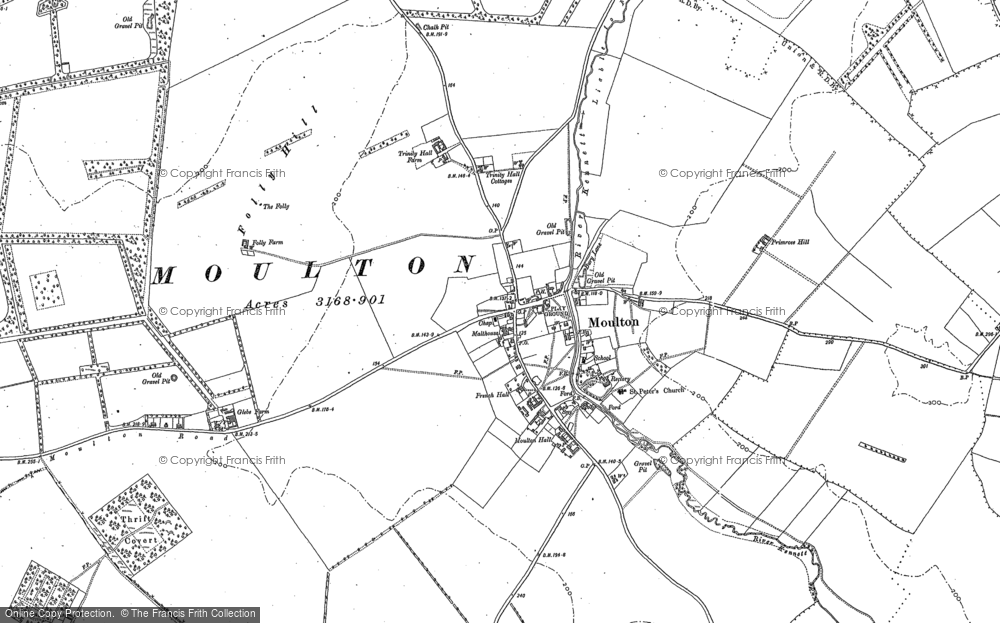 Old Map of Historic Map covering Ashley Heath Stud in 1883