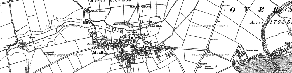 Old map of Moulton in 1884