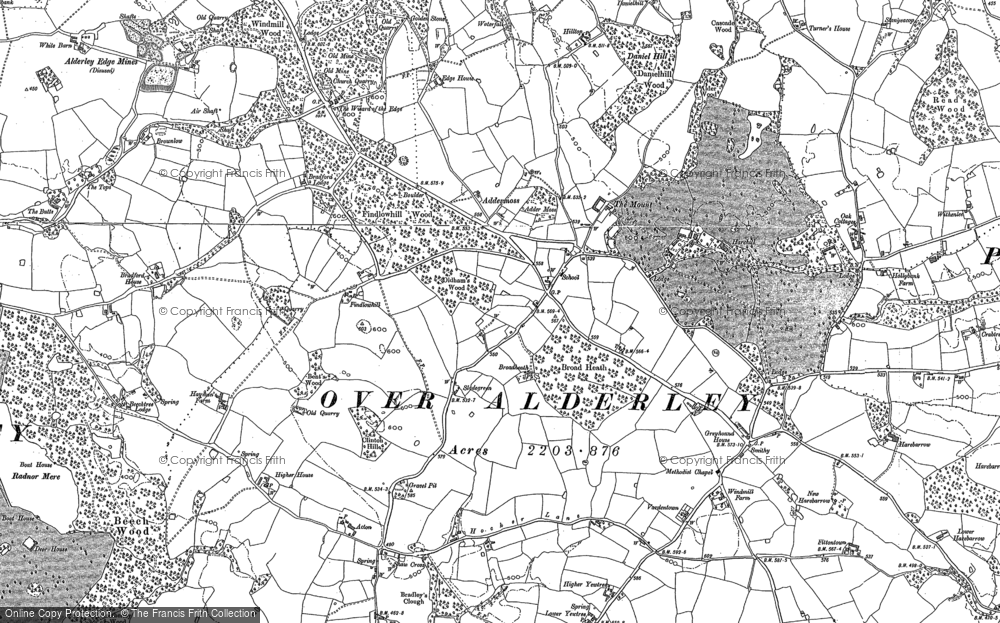 Old Map of Historic Map covering Adder's Moss in 1896