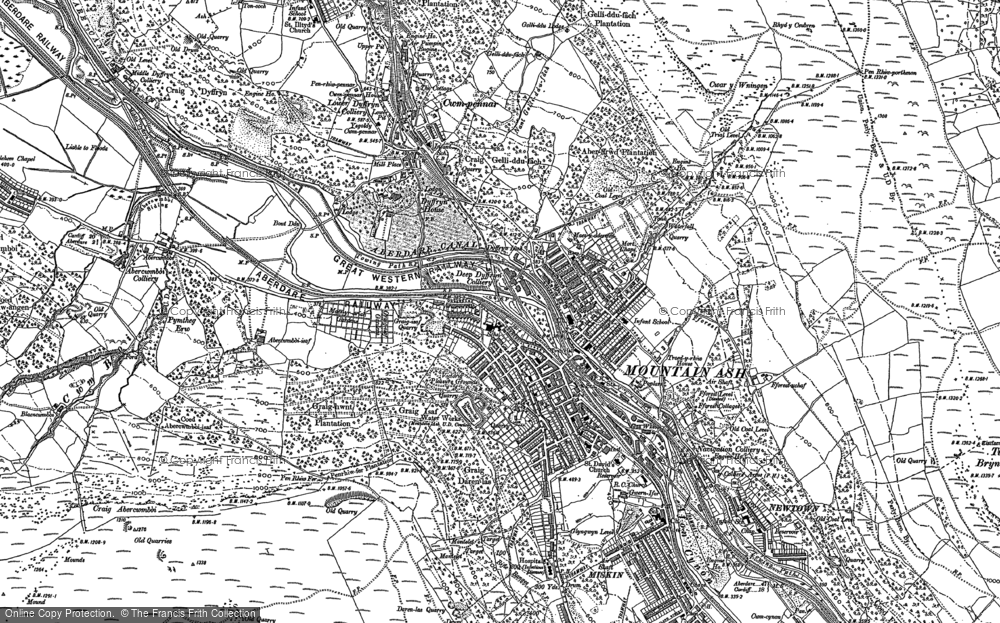 Old Map of Historic Map covering Miskin in 1898