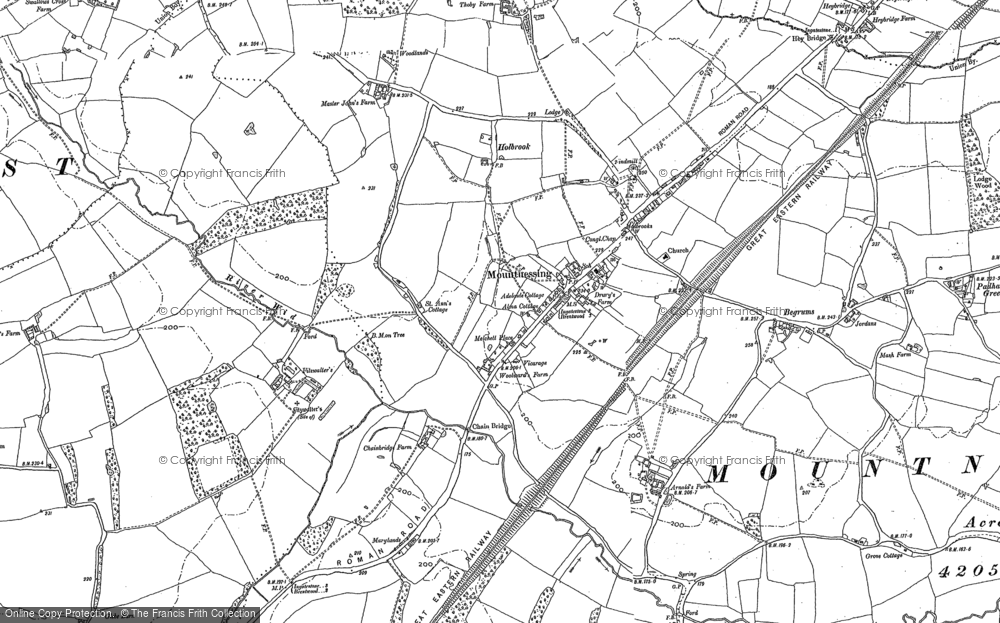 Old Map of Historic Map covering Woodlands Farmhouse in 1895