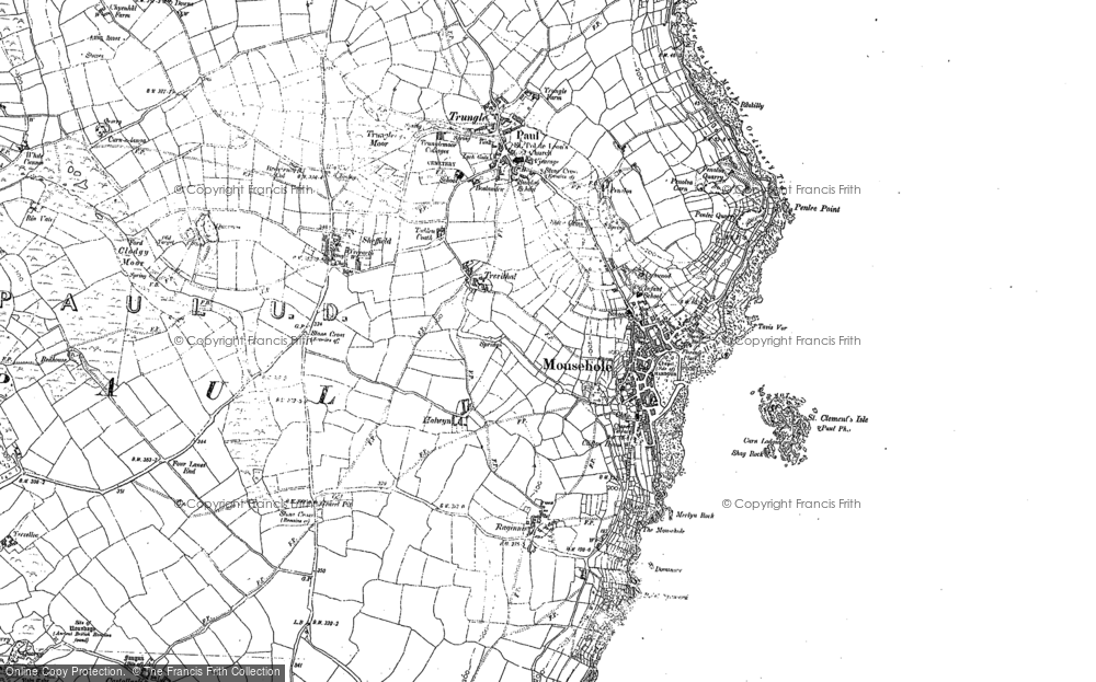 Old Map of Mousehole, 1906 in 1906