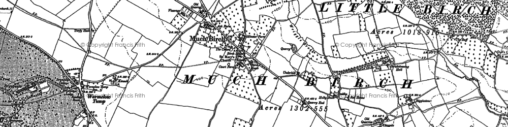 Old map of Much Birch in 1887