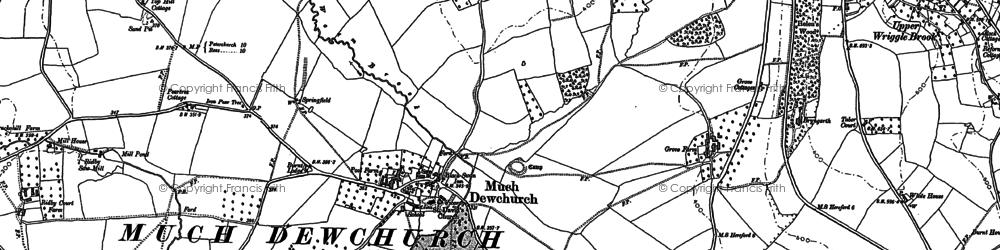 Old map of Much Dewchurch in 1886