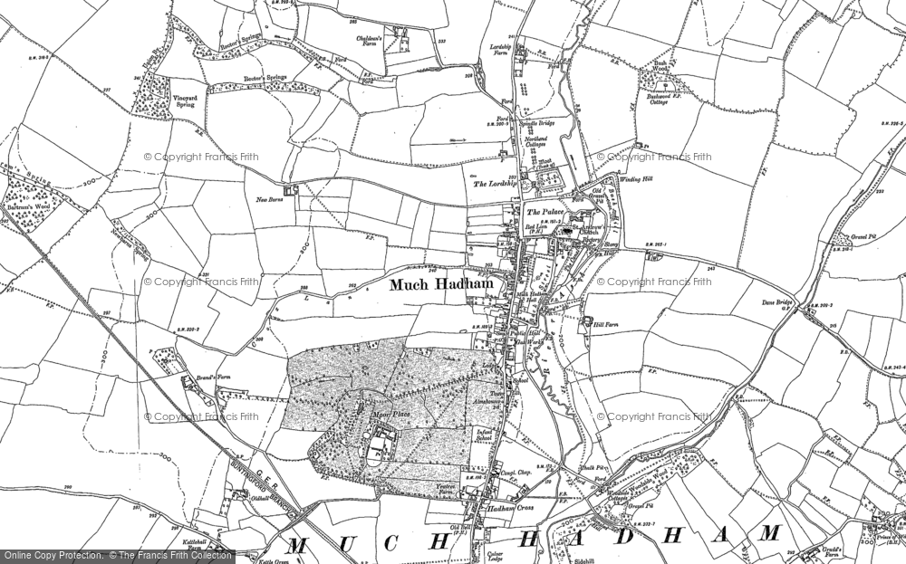 Map of Much Hadham, 1896 - 1919