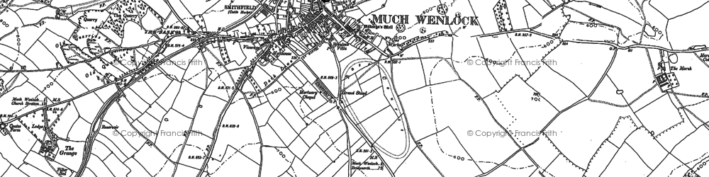 Old map of Much Wenlock in 1882
