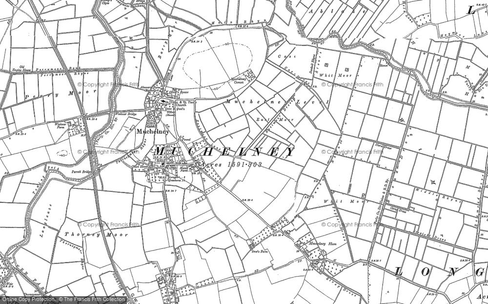 Old Map of Muchelney, 1885 - 1886 in 1885