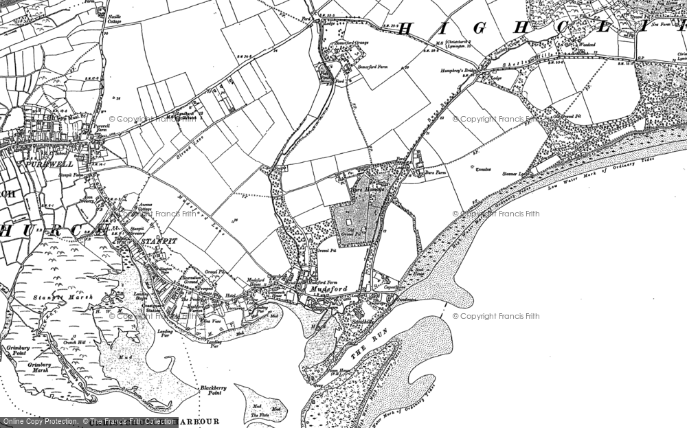 Old Map of Mudeford, 1907 in 1907