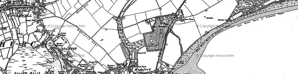Old map of Mudeford in 1907