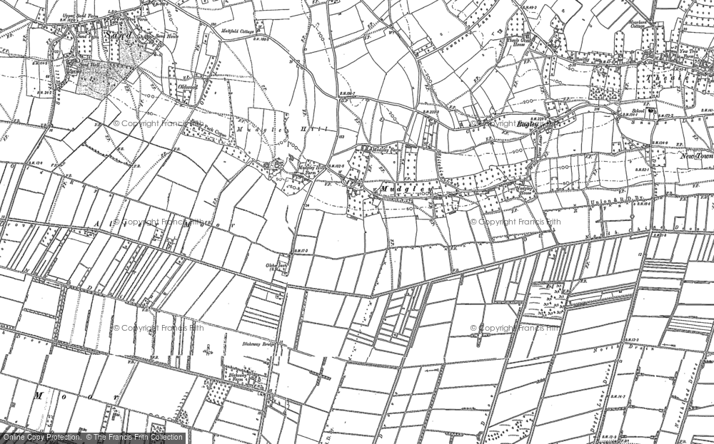Old Map of Mudgley, 1884 in 1884