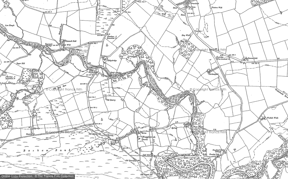 Old Map of Historic Map covering Lane Head in 1895