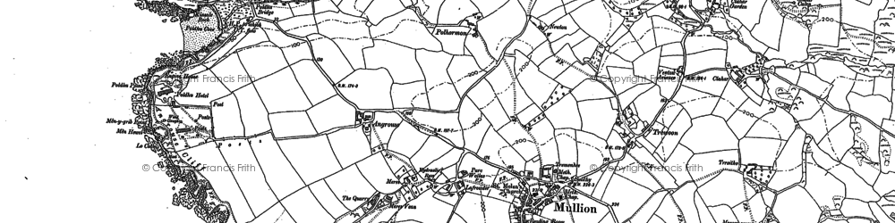 Old map of Poldhu Point in 1906