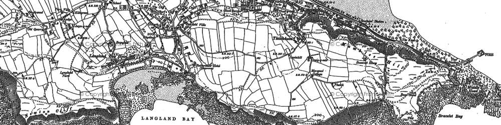 Old map of Limeslade Bay in 1913