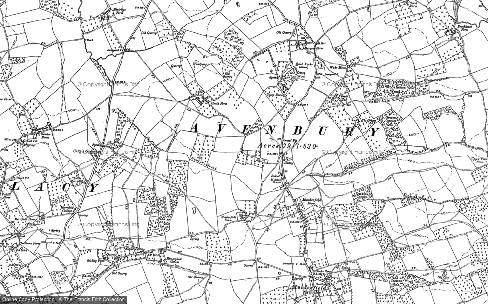Old Map of Historic Map covering Avenbury Court in 1885