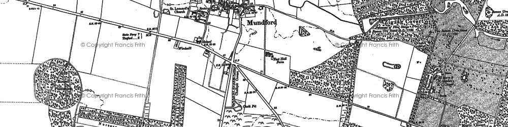 Old map of Mundford in 1883
