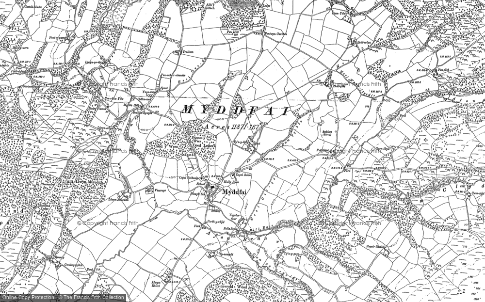 Old Map of Historic Map covering Afon Ydw in 1904