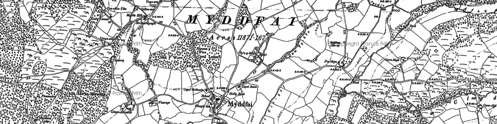 Old map of Afon Ydw in 1904