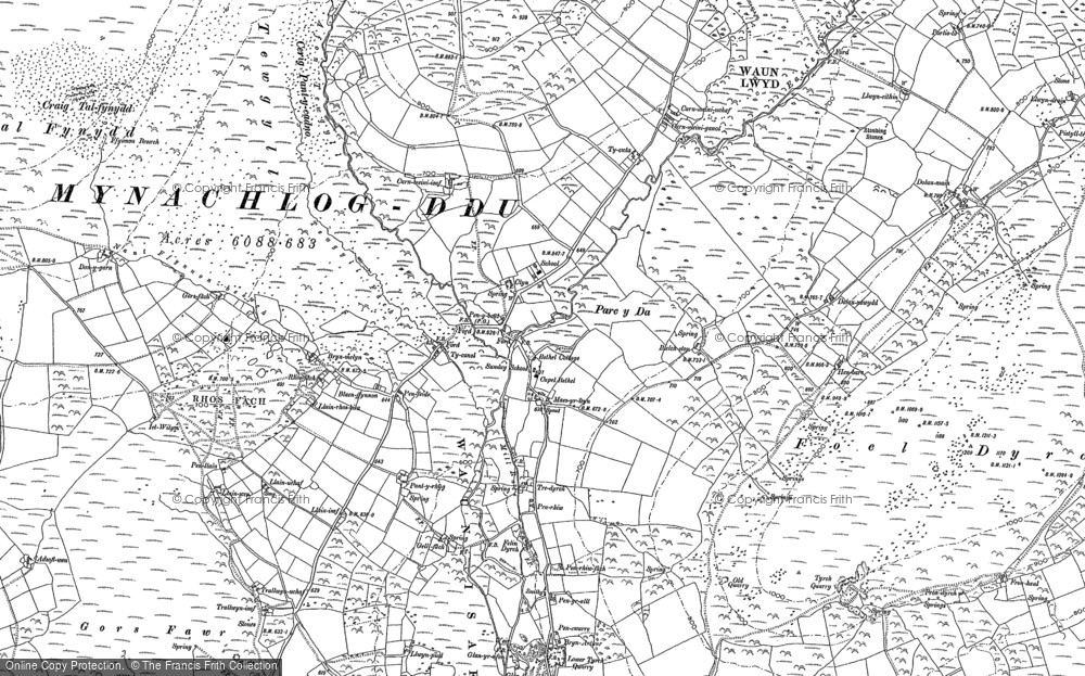Old Map of Historic Map covering Afon Glandy in 1888