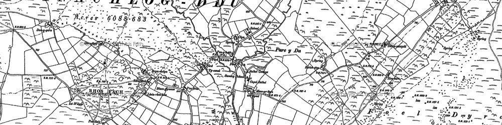 Old map of Afon Glandy in 1888
