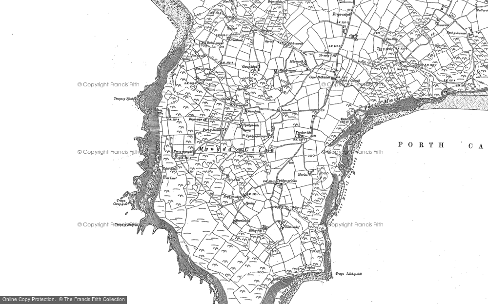 Old Map of Historic Map covering Bachwared in 1888