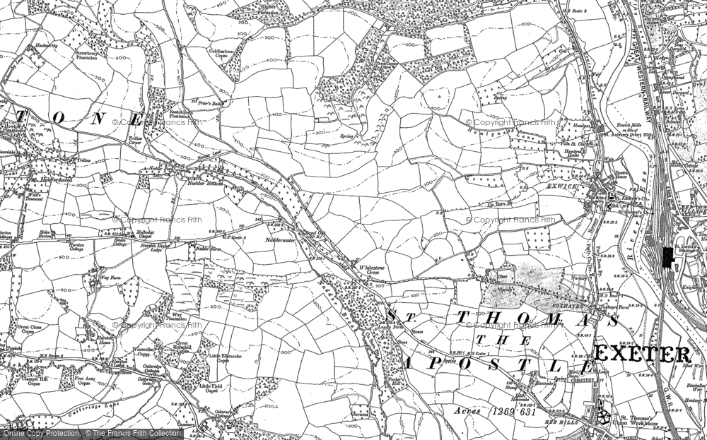Old Map of Historic Map covering Alphin Brook in 1887