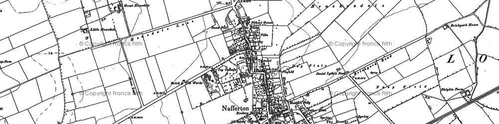 Old map of Nafferton in 1891